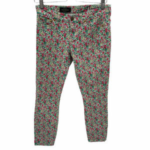 J. Crew Floral Print Toothpick Ankle Jeans Size 27